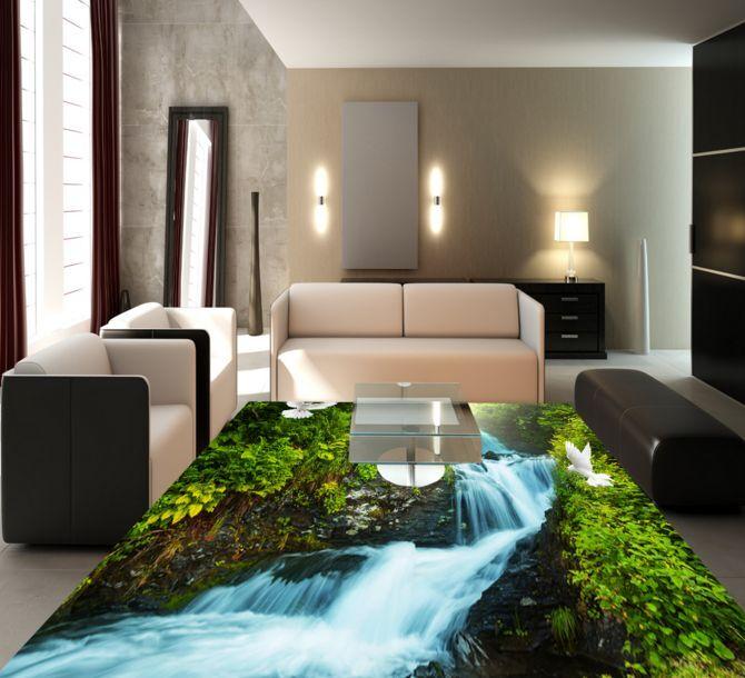 3Dfiume foresta art Pavimento Foto Wallpaper Murales Muro Stampa Decalcomania