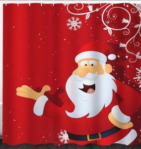 Image Is Loading Cheerful Father Christmas Xmas Santa Bathroom Shower Curtain