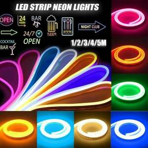 1M-5M 12V LED STRIP NEON LIGHTS FLEXIBLE SILICONE TUBE ROPE LAMP POWER ADAPTER