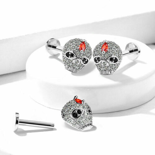 Multi CZ Paved Skull Lip Cartilage Tragus Helix Daith Ear Piercing Jewelry 16G