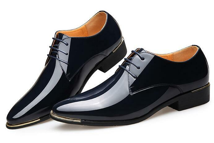 NEW Mens Italian Style Patent Leather shoes Smart Slip On Formal Shiny British
