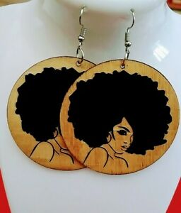 Afro-hair-African-womanStatement-Wood-Carved-Earrings-black-beige-new