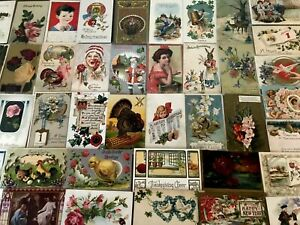 Beautiful-Lot-of-50-Vintage-Holidays-amp-Greetings-Postcards-In-Sleeves-a846