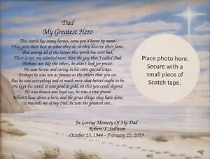 Details about Memory of Father Sympathy Gift Personalized Poem Memorial  Gift Loss of Dad Gifts