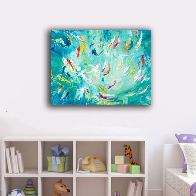 60×80×3cm Watercolor Fishes Canvas Print Framed Wall Art Home Decor Painting IV