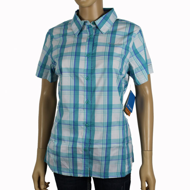 "New Womens Columbia /""Meadowgate/"" Plaid Omni-Shade Vented Short Sleeve Shirt"