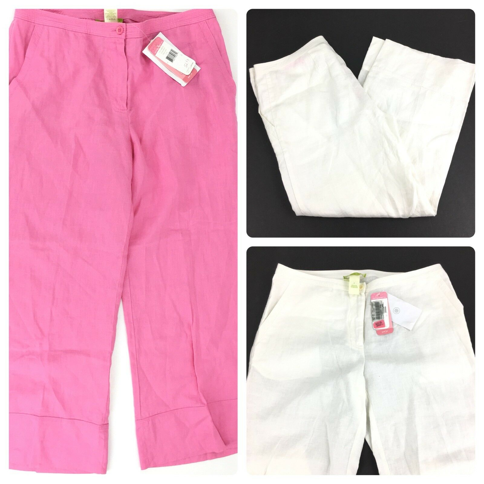 Sigrid Olsen Relaxed Crop Pants 100% Linen Lot of 2 Pink White Poet 09 Sz 6 NWT