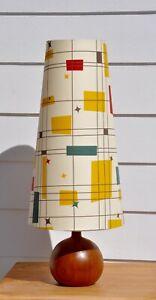 RETRO-Mid-Century-Teak-Vintage-DANISH-039-RUND-039-table-LAMP-with-bespoke-shade