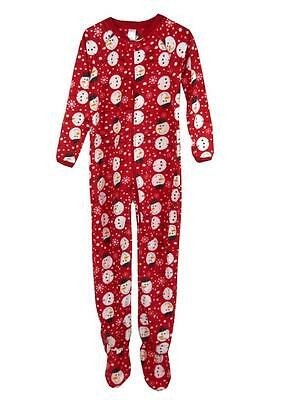 J22 Girls Size 6 7 Snowman One Piece Blanket Sleepsuit Footed  Pyjamas PJs