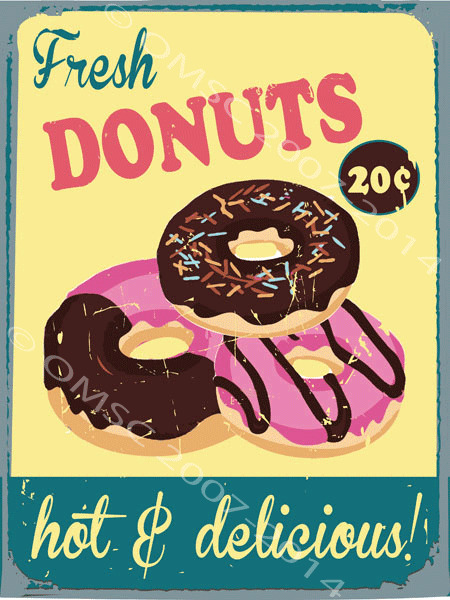 Fresh Hot and Delicious Donuts Metal Sign, Retro Cafe, Restaurant, Kitchen Decor