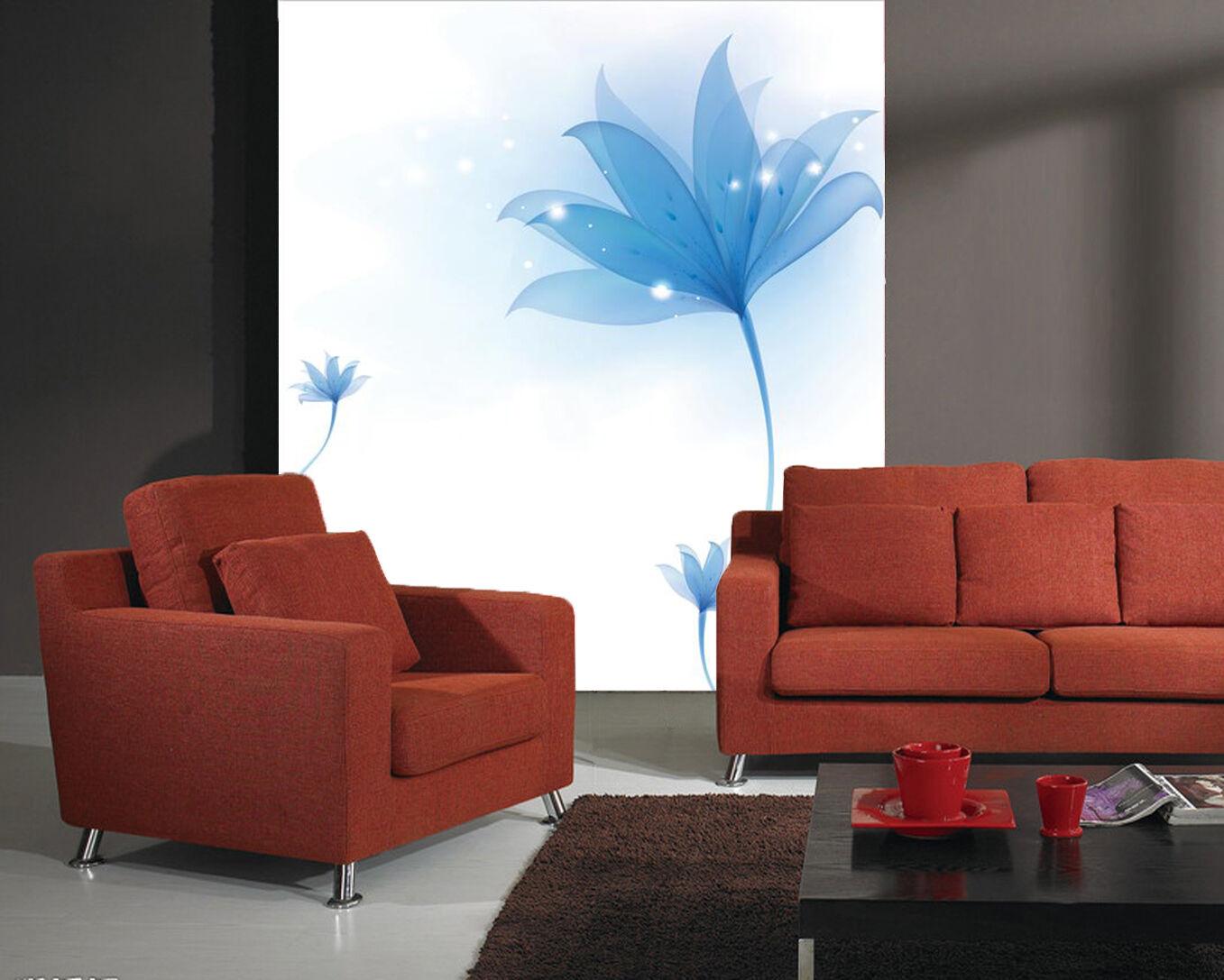 3D fiori blu 34 Parete Murale Foto Carta da parati immagine sfondo muro stampa
