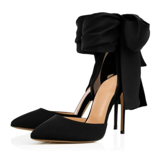 Women Ladies New Fashion Satin Pointed Toe Ankle Wrap High Heel Party Shoe Bty15