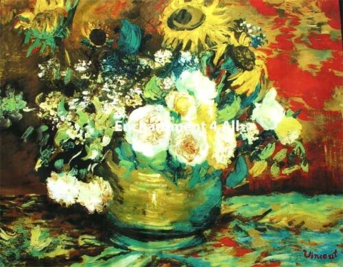 "Large 100/% Pure Silk Art Scarf Wrap Handrolled Van Gogh /""Bowl w// Sunflowers.../"""