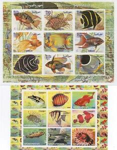 PAIR-OF-TROPICAL-FISH-SEA-LIFE-AFGHANISTAN-SOMALIA-MNH-STAMP-SHEETLETS