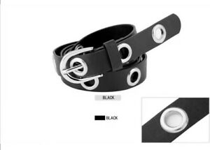 Cintura-donna-cinta-eco-pelle-fibbia-grande-tg-unica-jeans-moda-nero-new-borchie