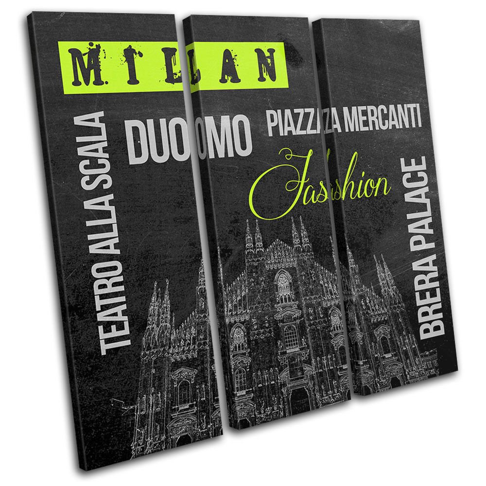 Milan Points of Interest Interest Interest City TREBLE TELA parete arte foto stampa 7b95cd