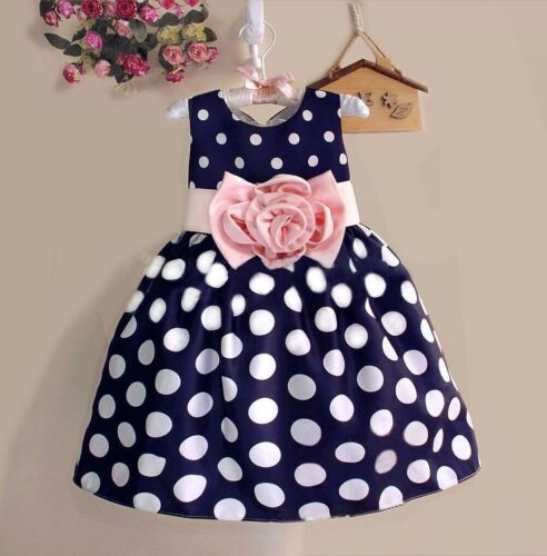 New Summer Kids Girls Sleeveless Dot High Waist Dress O-Neck Bubble Gowns 2-8Y