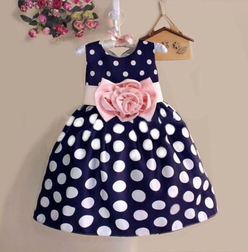 New Summer Kids Girls Sleeveless Dot High Waist Dress O-Neck Bubble Gowns 2-8Y