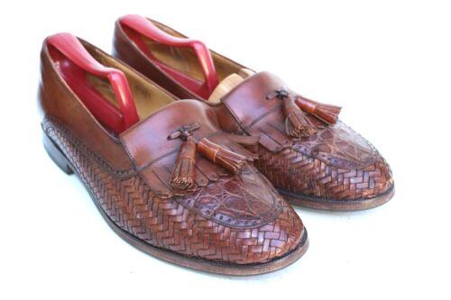 Mezlan Brown Leather Genuine Crocodile Woven Tasse