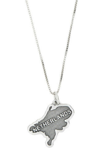Sterling Silver Country of Netherlands Charm with Box Chain Necklace