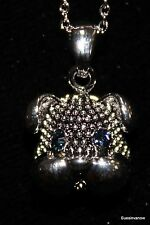 """Blue Australian Crystal Accent Bull Dog FaceNecklace Adjustable 18"""" Chain Woof"""