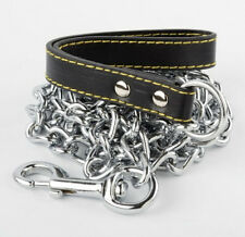 """Champion  4' 4mm Heavy Chain Dog Lead with Leather  Handle  / 48"""" long"""
