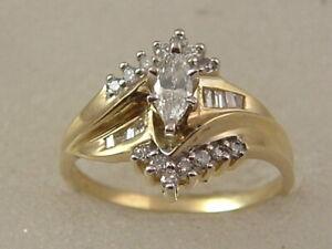 14 Karat Diamond Engagement Ring 14k Gold Marquise Diamond Engagement Ring 14 Kt Ebay