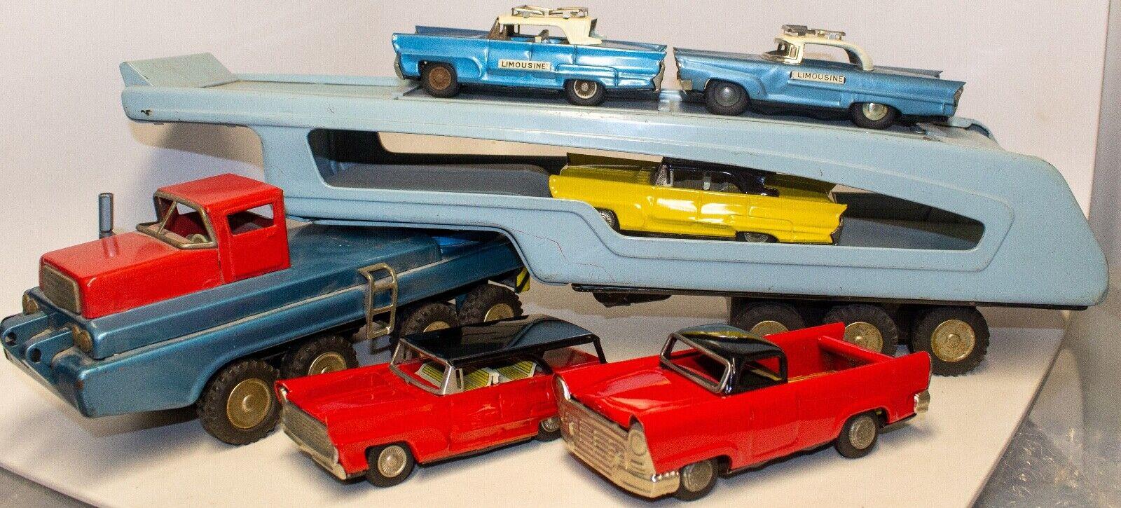 Vintage Japanisch Blech Litho Car Hauler W  5 Dose Reibung Spielzeug Cars