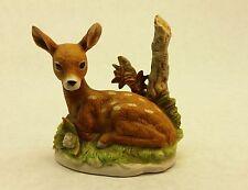Homco Resting Fawn Baby Deer porcelain ceramic figurine realistic Bambi