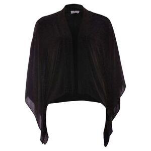 Kimono Jacke Gr.4446 Überwurf Glitzer schwarz Poncho Bolero