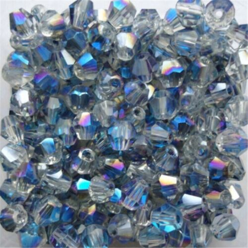 100pcs Beads Loose Crystal Spacer Faceted Glass Bicone Wholesale Jewelry Making