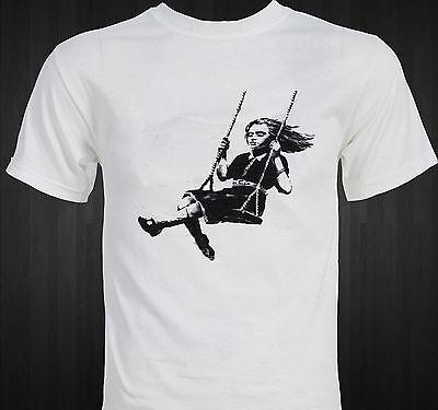 Banksy girl on swing T SHIRT Tee or Long sleeve,hoodie,tank Street Art Graffiti