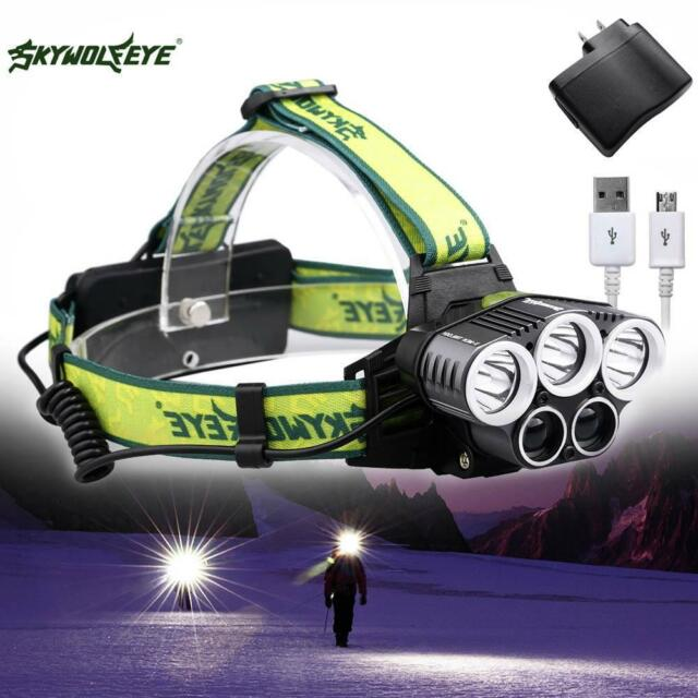 40000LM 5X X-M-L T6 LED Rechargeable USB Headlamp 5 Modes +AC Charger US Plug FS