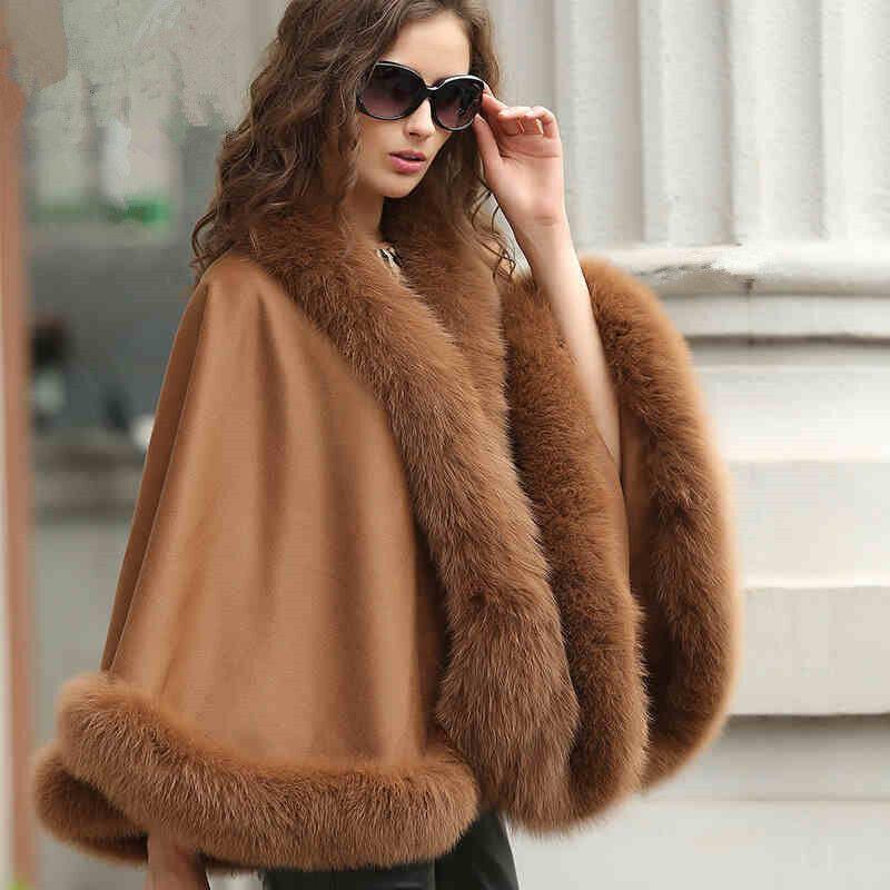 Woherrar Real Cashmere Real Fox Fur Cloak poncho  Coat  wraps   A style