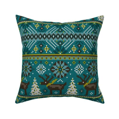 Reindeer Fair Isle Winter Throw Pillow Cover w Optional Insert by Roostery