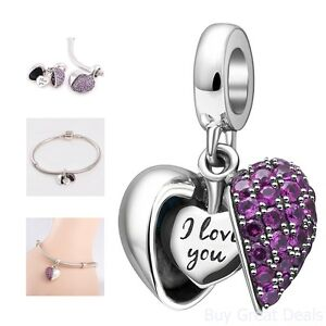 add0468fc I Love You Sterling Silver Heart Dangle Charm Pandora Charms ...