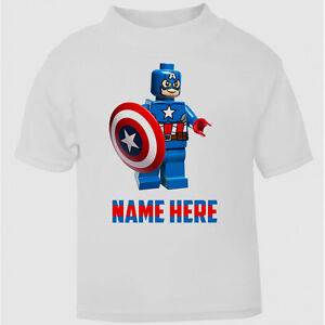 c29ba90768b Personalised Captain America Lego Boys T-Shirt Top Childs Tee age ...