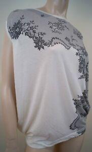 38 T Detail Mccartney Uk8 Black White Off Top Tee shirt 100 Cotton Mesh Stella 7T6wqq