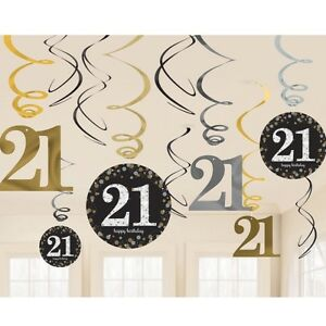 Image Is Loading 12 Happy 21st Birthday Hanging Swirls Cutout Gold