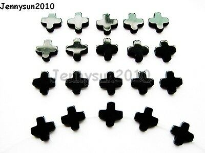 Natural Black Onyx Gemstone Cross Bracelet Necklace Connector Spacer Charm Beads