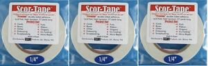Sookwang-Scor-Tape-THREE-Roll-Lot-1-4-034-x-27-yards-Double-sided-Tape