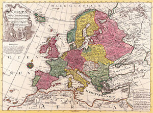 Vintage Old World Map of Europe 1700\'s CANVAS PRINT 16\