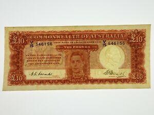 1949-Ten-Pounds-Coombs-Watt-Banknote-First-Prefix-V-15