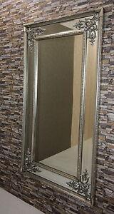 Wandspiegel Modern barock modern wandspiegel mit holzrahmen antik silber 167x92 cm neu