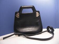 Ferragamo Mini Gancini Black Leather  2 Way Handbag