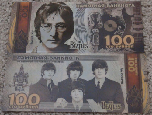Russia 100 rubles commemorative banknote the beatles polymer silver