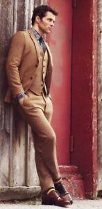 Men-039-s-Brown-Tweed-Suits-3Pcs-Vintage-Tuxedos-Wedding-Slim-Fit-Tweed-Suits-Custom