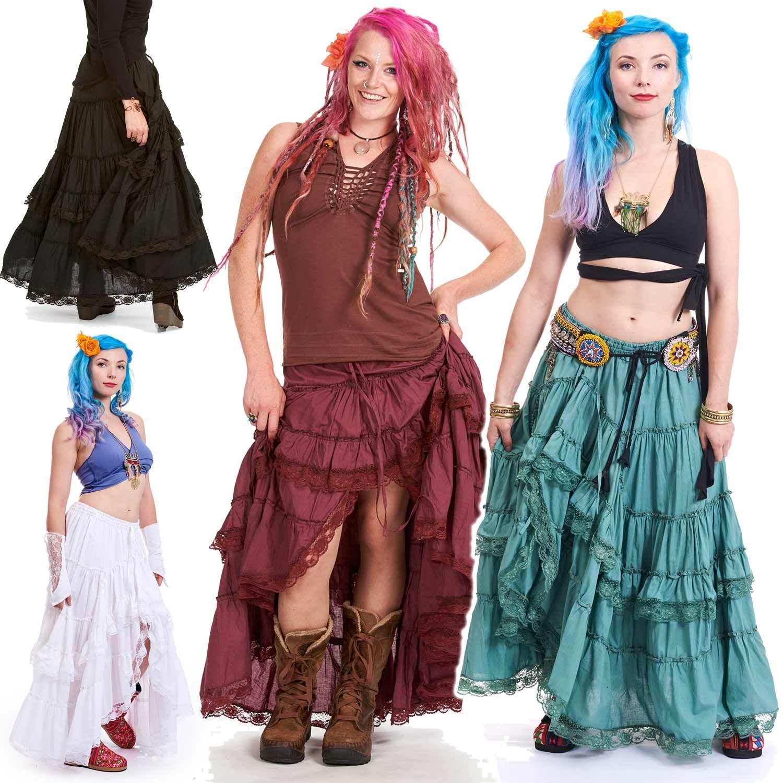 Hippy Gypsy Skirt, Long Lace Boho skirt, Sizes 8-5XL Plus Size Women's Clothing