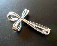 Sterling Silver Ribbon Cross Slide Pendant Charm - 24mm Tall