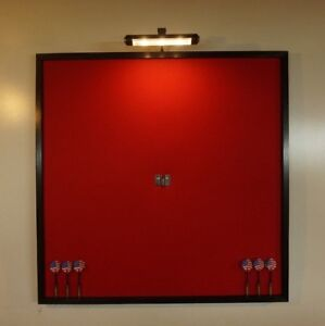 Led Lighted Red And Black 32 Quot X 32 Quot Dart Board Cabinet